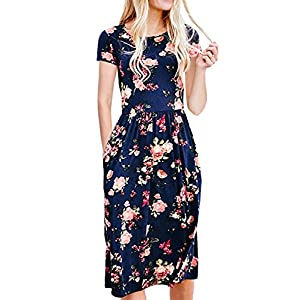 5366843b7d17 ECOWISH Womens Dresses Summer Floral Short Sleeve Elastic Waist Vintage  Retro Midi Dress with Pockets