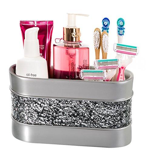Makeup Brush Holder, Brushed Nickel Bathroom Organizer Count