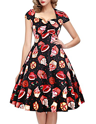 OTEN Women's Polka Dot Sugar Skull Vintage Swing Retro Rockabilly Cocktail Party Dress Cap Sleeve for $<!--$28.99-->