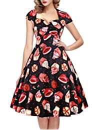 OTEN Women's Floral Sugar Skull Cap Sleeve Swing Retro Party Rockabilly Dress