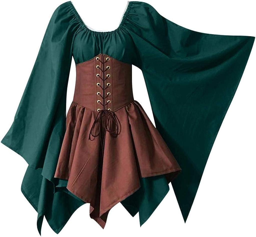 Vestido de Cintura Corta de Fiesta de Manga Larga Medieval renacentista de Halloween Lady