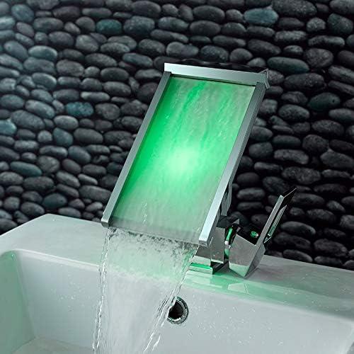 3色は変更のLED蛇口温度センサウォーター-Poweredの主導Tap.Bathroomデッキは滝盆地シンクミキサータップをマウント