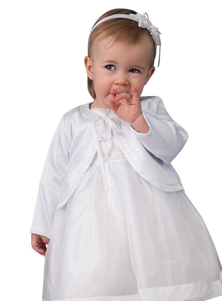 Boutique-Magique Veste Blanche Bébé Fille Baptême en Satin