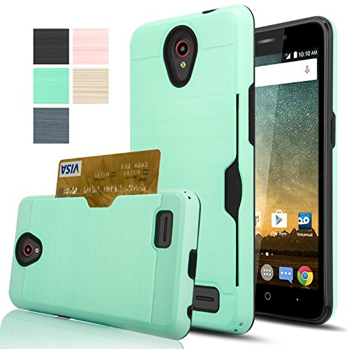 ZTE Prestige N9132/Avid Plus Z828/Maven 2 Z831/Sonata 3 Z832/Chapel/Avid Trio Case With HD Screen Protector,AnoKe [Card Slots Holder][Wallet]Hybrid Shockproof Heavy Duty Case for N9132 KC2 Mint (Phone Trio)