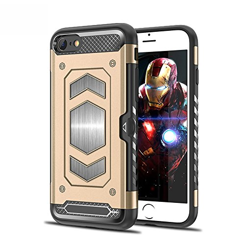 iPhone 7/8 Case iPhone 7 Plus/8 Plus CaseMagnetic Dual Layer Wallet Card Slot Kick-Stand Armor Series Hybrid Case with Card Slot Slide&Magnetic Car Mount (iPhone 8, Gold) ()