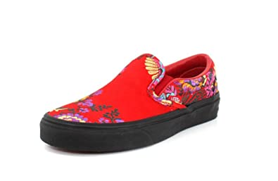 1bec6e612e94 Vans Mens U Clasic Slip ON Festival Satin RED Black Size 4