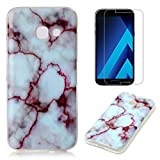 For Samsung Galaxy A5 2017 A520 Marble Case with Screen Protector ,OYIME Creative Glossy Purple & White Marble Pattern Design Protective Bumper Soft Silicone Slim Thin Rubber Luxury Shockproof Cover