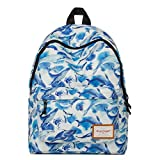 Mr.Ace Fashion Printed Style Pattern School Backpack Lovely For Teens With Laptop Sleeve In It with White Whale in Ocean Pattern Blue