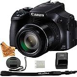 Canon Powershot SX60 16.1MP Digital Camera 65x Optical Zoom Lens 3-inch LCD Tilt Screen (Black) & Super Savings Microfiber Ultra Gentle Digital Camera Cleaning Cloth
