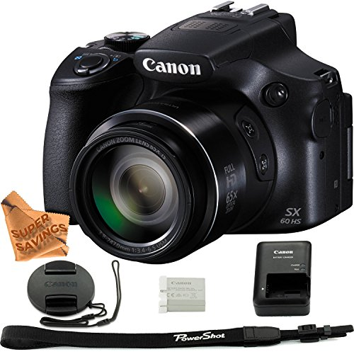 Canon Powershot SX60 16.1MP Digital Camera 65x Optical Zoom Lens 3-inch LCD Tilt Screen (Black) & Super Savings Microfiber Ultra Gentle Digital Camera Cleaning Cloth