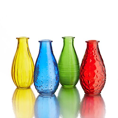 Style Setter Assorted Gems Colored Glass Vases (Set of 4)