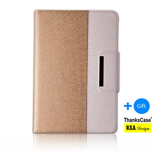 Thankscase Samsung Galaxy Tab S 8.4 Rotating Case with a Bonus Screen Protector, Cover with Hand Strap with Smart Cover Function,slim Lightweight Wallet Case for Samsung Galaxy Tab S 8.4 .(Gold)