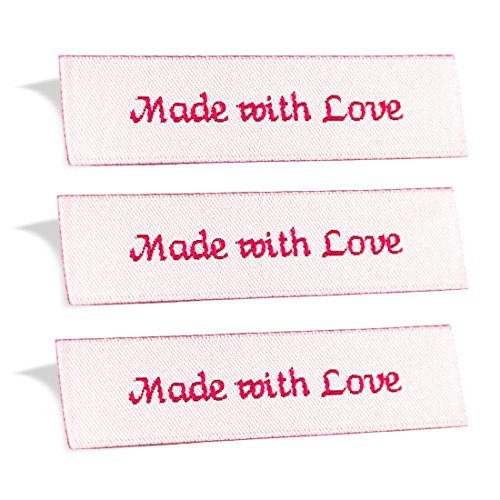 Wunderlabel Made with Love Crafting Craft Art Fashion Woven Ribbon Ribbons Tag for Clothing Sewing Sew on Clothes Garment Fabric Material Embroidered Label Labels Tags, Red on White, 100 Labels