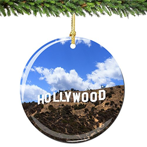 City-Souvenirs Hollywood Christmas Ornament Porcelain 2.75 Inch Double Sided California Christams Ornament -