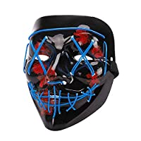 LED Halloween Mask - Halloween Scary Cosplay Light up Mask, EL Wire Mask Glowing mask for Halloween Festival Party Blue