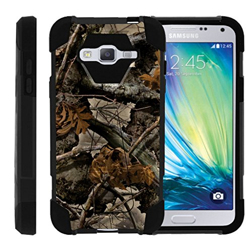 Camouflage Silicone Case (TurtleArmor | Samsung Galaxy J3 Case | Amp Prime | Express Prime | Sol | Sky [Dynamic Shell] Hybrid Dual Layer Hard Shell Kickstand Silicone Case - Tree Leaves Camouflage)