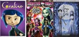 Monster Freaky Fusion High with Tim Burton's Corpse Bride & Coraline DVD Animated Film Bundle 3-pack Bundle