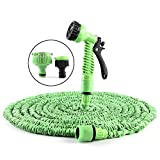 Expandable Garden Hose,100ft Expanding Garden Hose Durable Heavy Duty Flexible Pressure Washer Water Hose with 7 Pattern Function Watering Nozzle for Car Wash Cleaning Watering Lawn Garden Plants