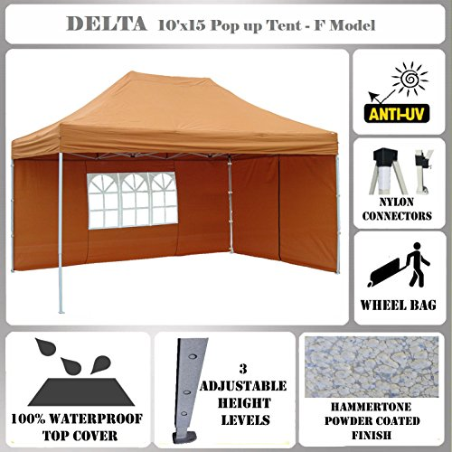10'x15′ Pop up Canopy Wedding Party Tent Gazebo EZ Burnt Orange – F Model Commercial Frame By DELTA Canopies