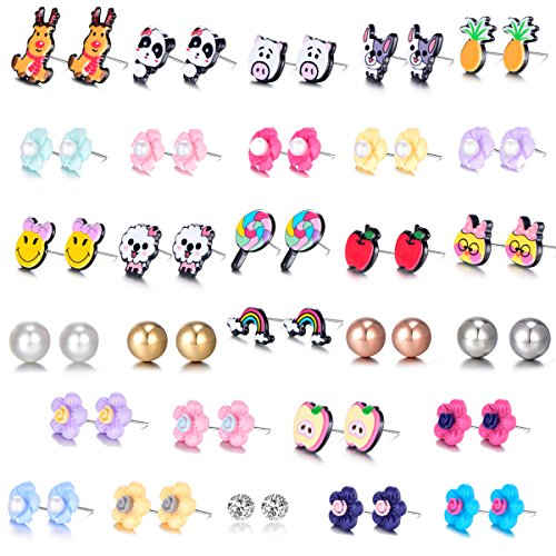 Mixed Cute Animal Fox Reindeer Pineapple Apple Rainbow Lollipop Pig Flower Rhinestones Faux Pearl Stud Earrings Gift Set with Stainless Post for Girl Women Kids (29 pairs)
