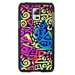 Abstract Artistic Design Cell Phone Cover Case for Samsung Galaxy S5 Colorful Paint Aztec Triangle Bright Colors Hard Plastic Cell Phone Skin