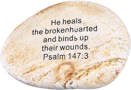 Stone Scripture (Holy Land Market Extra Large Engraved Inspirational Scripture Biblical Natural Stones Collection - Stone VII : Psalm 147:3 :