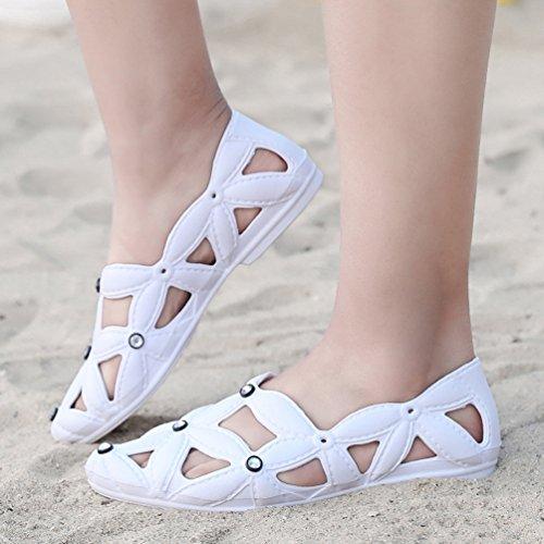 Orteil CHENYANG Chaussures Plates Chaussures Sandales Blanc Fermé Sandales Loisir de Femmes Bohème qC8nqOp