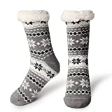 Slipper Socks Fleece-Lined Cozy Thick Winter Knee Highs Stockings for Woman?Girl by MissDill, Grey, 39-42 (U.S. 5-10)
