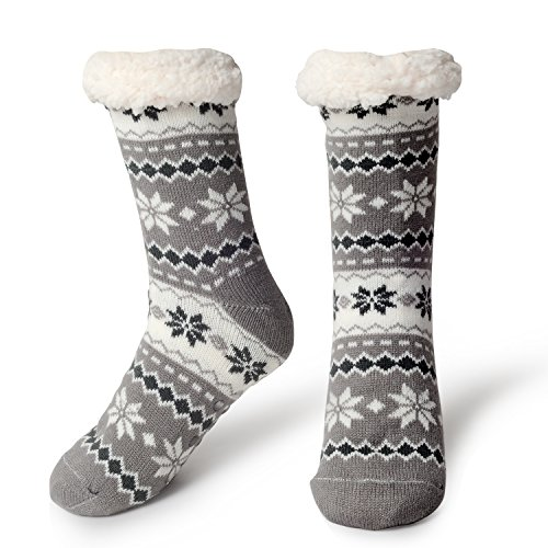 (Slipper Socks Fleece-Lined Cozy Thick Winter Knee Highs Stockings for Woman?Girl by MissDill, Grey, 39-42 (U.S. 5-10))