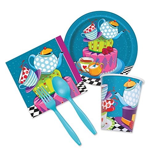 [Mad Hatter Tea Party Supplies - Deluxe Tableware Set for 16 Guests - Plates, Napkins, Plasticware,] (Girl Mad Hatter)