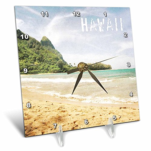 3dRose dc_30918_1 Kauai Hawaii Tropical Beach-Desk Clock, 6 by 6-Inch by 3dRose