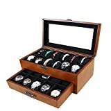 22 Slots Double Layer Watch Storage Organizer Box Gift Glass Top Showcase Jewellery Display