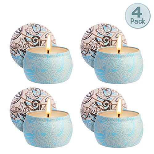 Zeonetak Scented Candles Gift Set, Natural Soy Wax for Stress Relief Aromatherapy, Tin Candle Set Gift of 4, 4.8 oz Each 80 Hours Burn Time Cotton Wick Soot-Free Burns ()