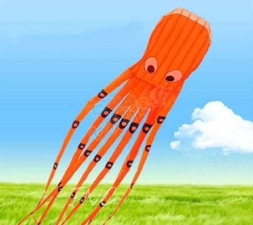 7M Large Octopus Paul Parafoil Kite Orange with Handle & String