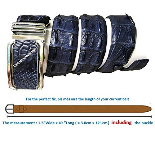 (NoJointed # Men's Belt Genuine Crocodile Alligator Skin Leather Belt Handmade (Dark Blue