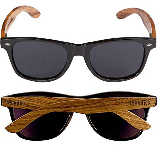 e9d0fda71470 Amazon.com  WOODIES Walnut Wood Sunglasses with Black Polarized Lenses for  Men or Women  Clothing