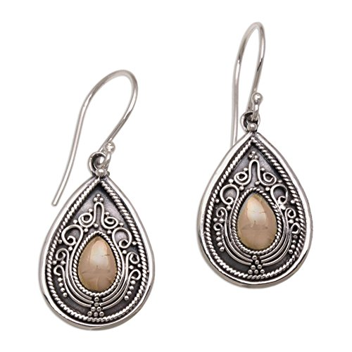 NOVICA 925 Sterling Silver Dangle Earrings with Yellow Gold-Plated Accents, Dewdrop Leaves