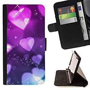 DEVIL CASE - FOR Samsung Galaxy S4 IV I9500 - Love Pink heart Pattern - Style PU Leather Case Wallet Flip Stand Flap Closure Cover