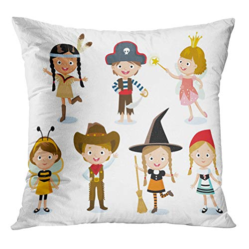 Semtomn Throw Pillow Cover Kid Children Fairy Costumes for Halloween Party Cowboy Child with Hidden Zipper Decorative Home for Sofa 18