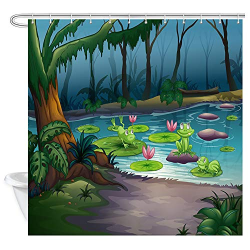 DYNH Kids Shower Curtain for Bathroom, Cartoon Frogs and Lotus Flowers Leaf in River at Scary Jungle Bath Curtains, Waterproof Fabric Shower Curtain 12PCS Hooks, 69X70 in