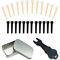 24pcs Acoustic Guitar Bridge Pins Pegs with 1pc Bridge Pin Puller Remover, Ivory & Black