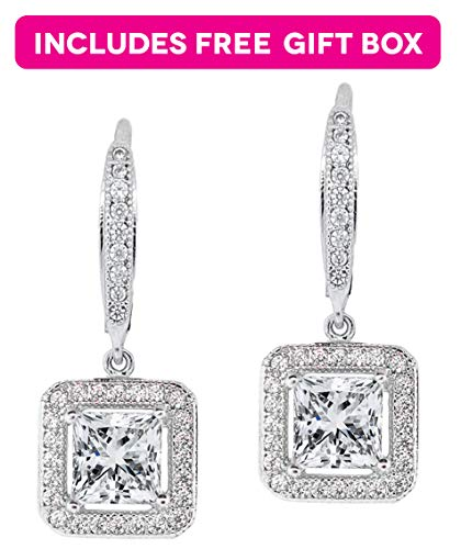 Jade Marie Enchanting Silver Dangle Crystal Halo Earrings, 18k White Gold Plated Princess Cut Dangle Earrings with Cubic Zirconia Crystals, Beautiful Dangle Earrings with Square - Solitaire Drop Earrings