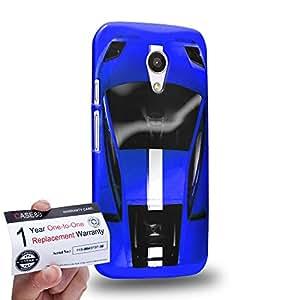 Case88 [Motorola Moto G (2nd Gen)] 3D impresa Carcasa/Funda dura para & Tarjeta de garantía - Art Design Blue Sport Car