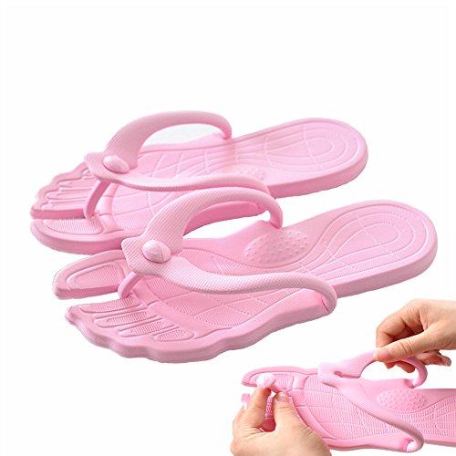 Happy Lily flip-folps Zapatillas suela de antideslizante Mulas uso en interiores o al aire libre sandalias piscina baño zapatos con exterior desmontable. Perfecto para Viajes rosa