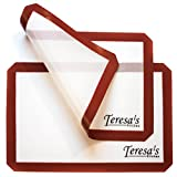 Teresa's Kitchen - 2x Silicone Baking Mat - Nonstick - Heat Resistant - Healthy Cooking - Food Safe - Oven Tray Liners - Cookie Sheets - Reusable - Premium Baking Sheets Set Full Size - Burgundy
