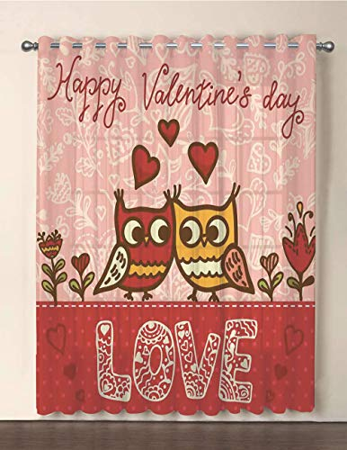 One Panel Extra Wide Sheer Voile Patio Door Curtain,Valentines Day,Owls in Love Print Cute Partners Couples Boho Style Hearts Flowers Dots,Pink Red Yellow,for Sliding Doors(108