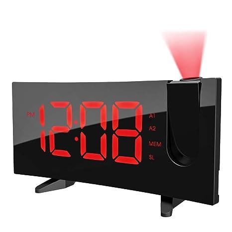 Reloj despertador de radio FM, [2018 actualizado], reloj despertador de proyección Pictek con 120° de tiempo, reloj digital ...