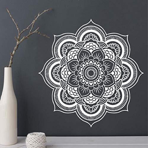 Handmade Cutting Mandala Flower Wall Decal Art Yoga Meditation Religion Floral Vinyl Decor Sticker Bedroom Wall Mural CW-2 (White, 22inch Tall) (Wall Decal Mandala)