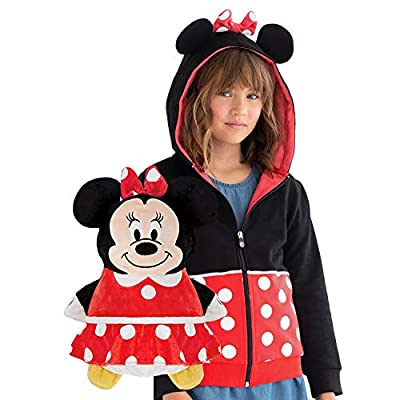CUBCOATS Minnie Mouse - 2-in-1 Transforming Hoodie and Soft Plushie - Red and Black