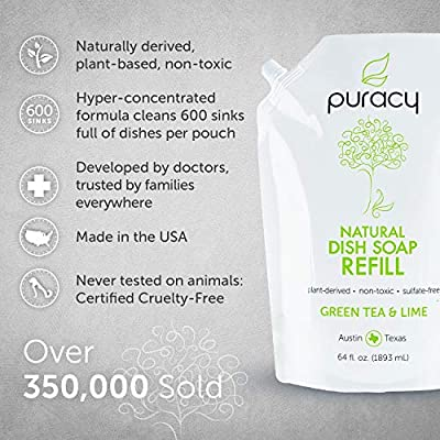 Puracy Natural Liquid Dish Soap Refill, Sulfate-Free Detergent, Green Tea & Lime, 64 Ounce